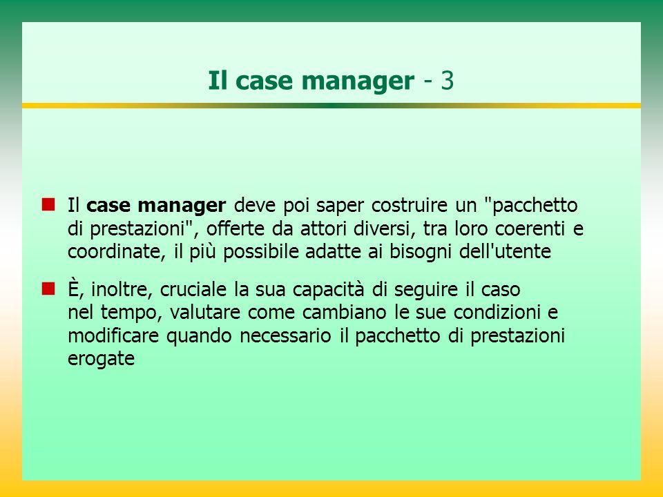 Il case manager - 3 Il case manager deve poi saper costruire un