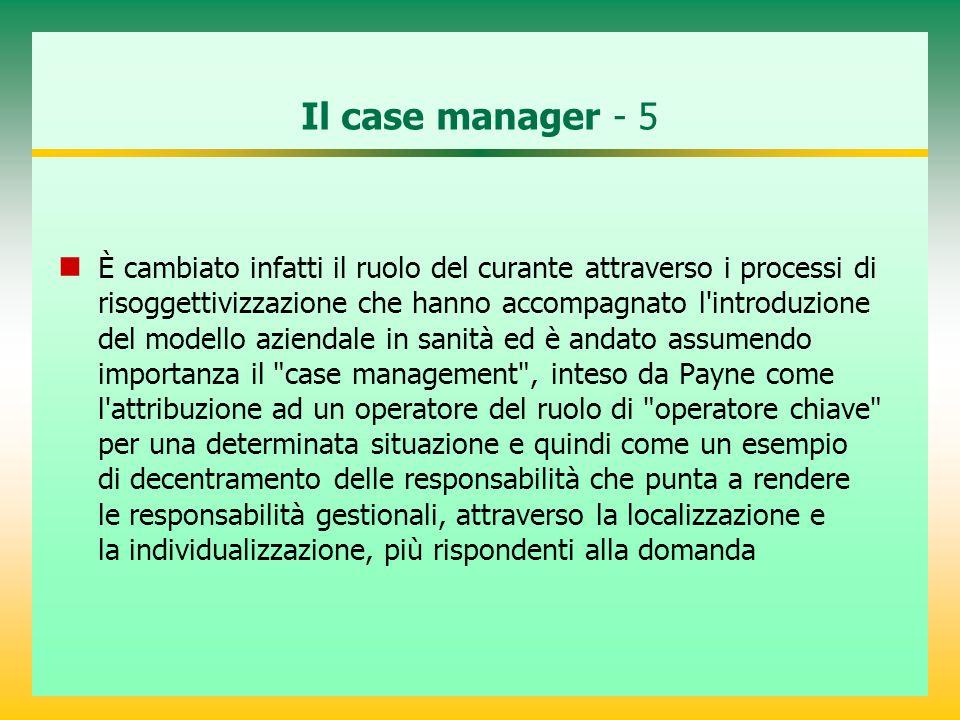 Il case manager - 5 È cambiato infatti il ruolo del curante attraverso i processi di risoggettivizzazione che hanno accompagnato l'introduzione del mo