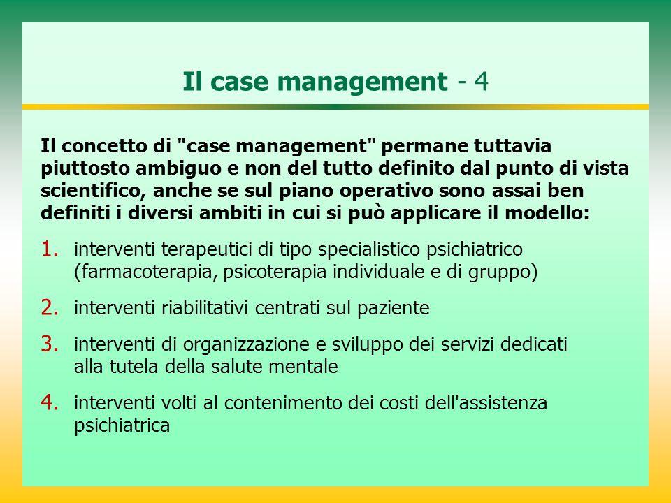 Il case management - 4 Il concetto di case management permane tuttavia piuttosto ambiguo e non del tutto definito dal punto di vista scientifico, anche se sul piano operativo sono assai ben definiti i diversi ambiti in cui si può applicare il modello: 1.