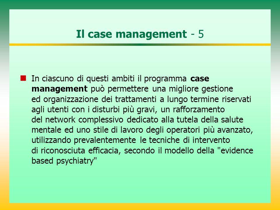 Il case management - 5 In ciascuno di questi ambiti il programma case management può permettere una migliore gestione ed organizzazione dei trattament
