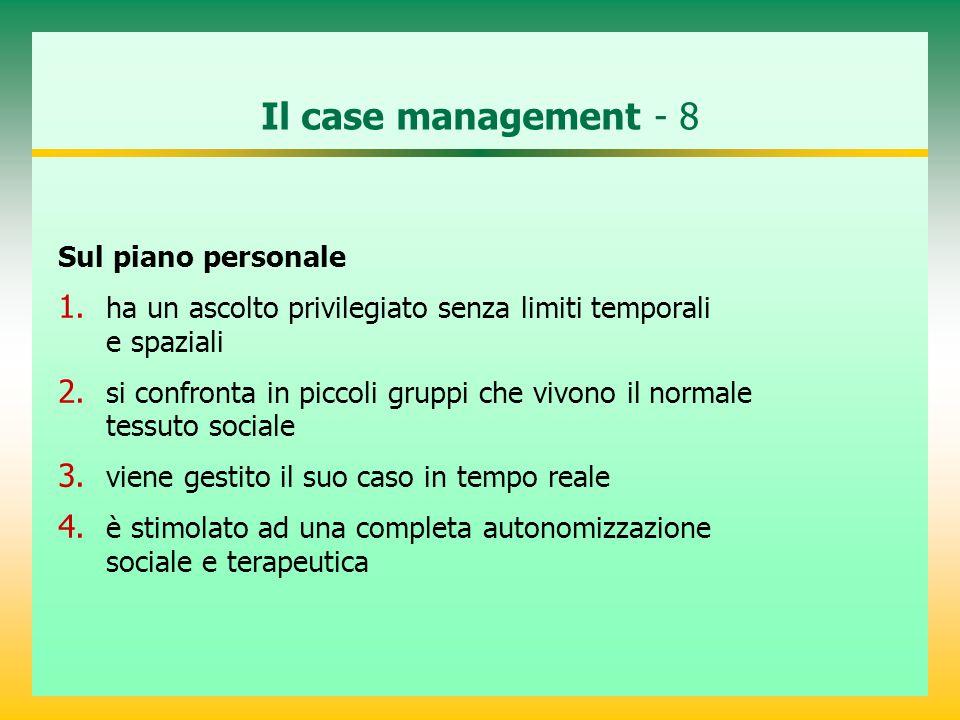 Il case management - 8 Sul piano personale 1. ha un ascolto privilegiato senza limiti temporali e spaziali 2. si confronta in piccoli gruppi che vivon