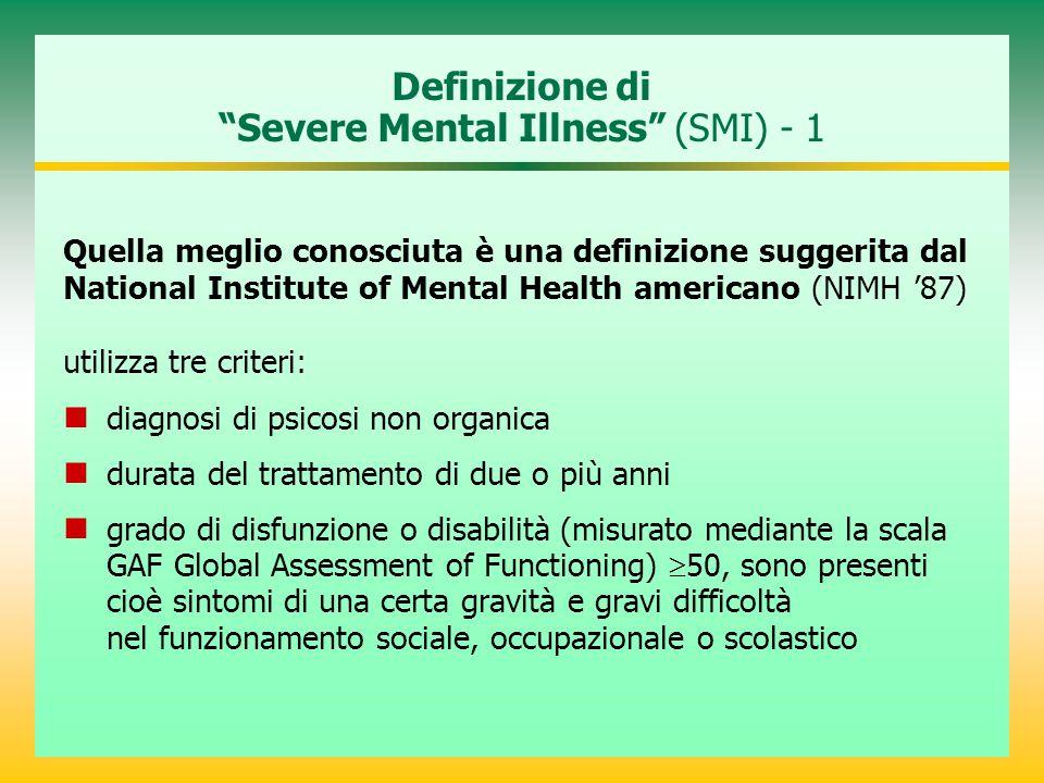 """Definizione di """"Severe Mental Illness"""" (SMI) - 1 Quella meglio conosciuta è una definizione suggerita dal National Institute of Mental Health american"""