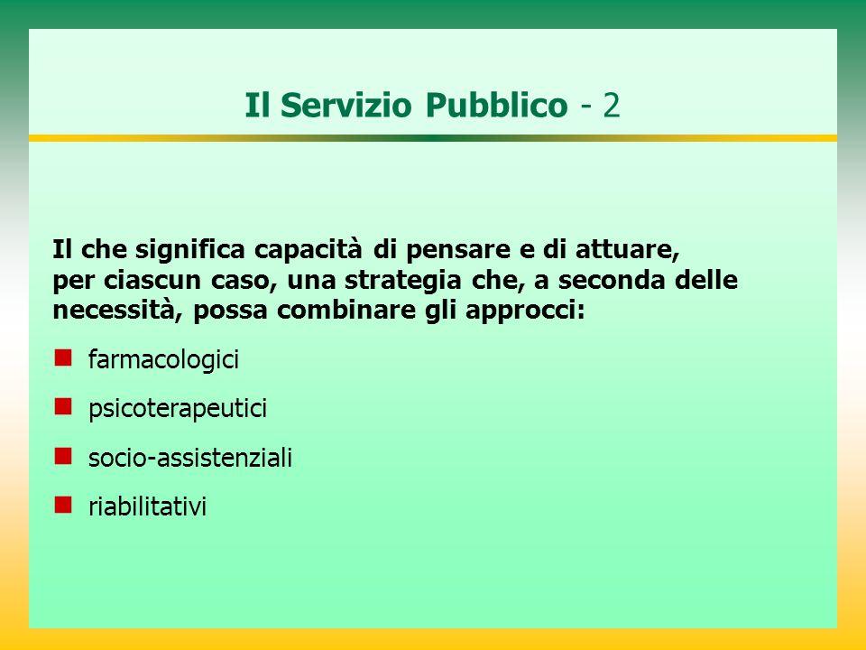 Il Servizio Pubblico - 2 Il che significa capacità di pensare e di attuare, per ciascun caso, una strategia che, a seconda delle necessità, possa combinare gli approcci: farmacologici psicoterapeutici socio-assistenziali riabilitativi