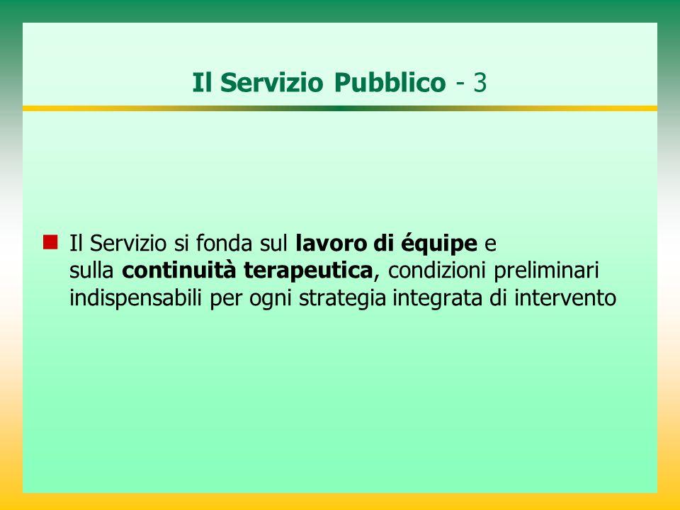 Il Servizio Pubblico - 3 Il Servizio si fonda sul lavoro di équipe e sulla continuità terapeutica, condizioni preliminari indispensabili per ogni stra