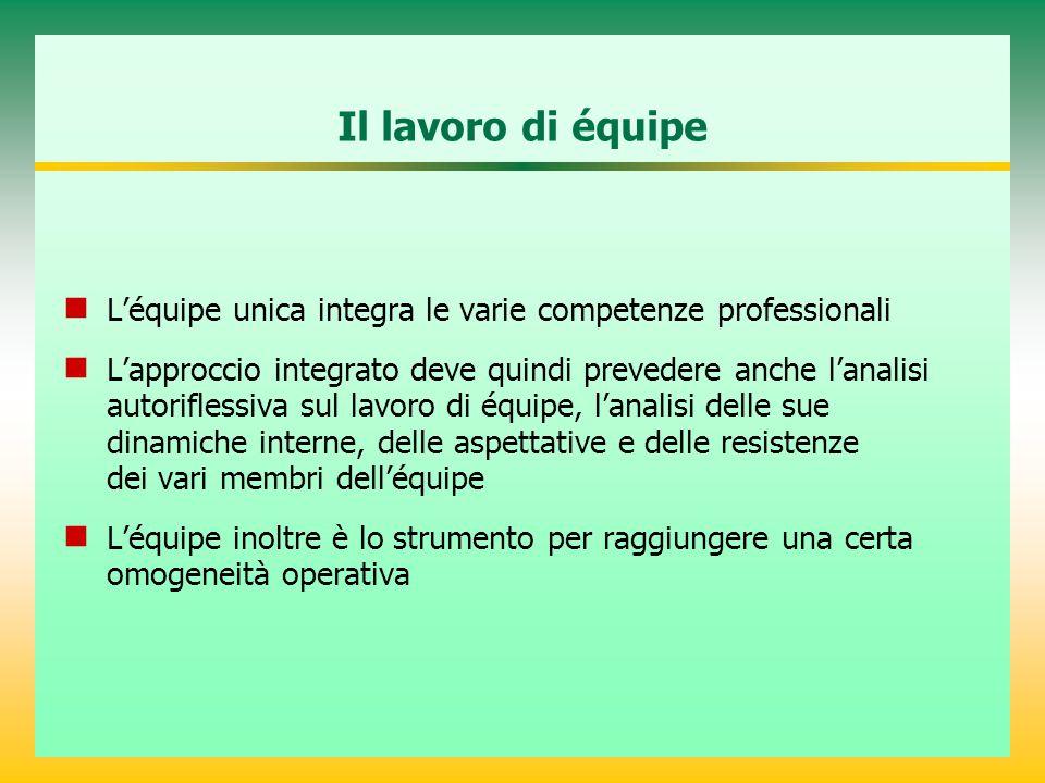 Il lavoro di équipe L'équipe unica integra le varie competenze professionali L'approccio integrato deve quindi prevedere anche l'analisi autoriflessiv