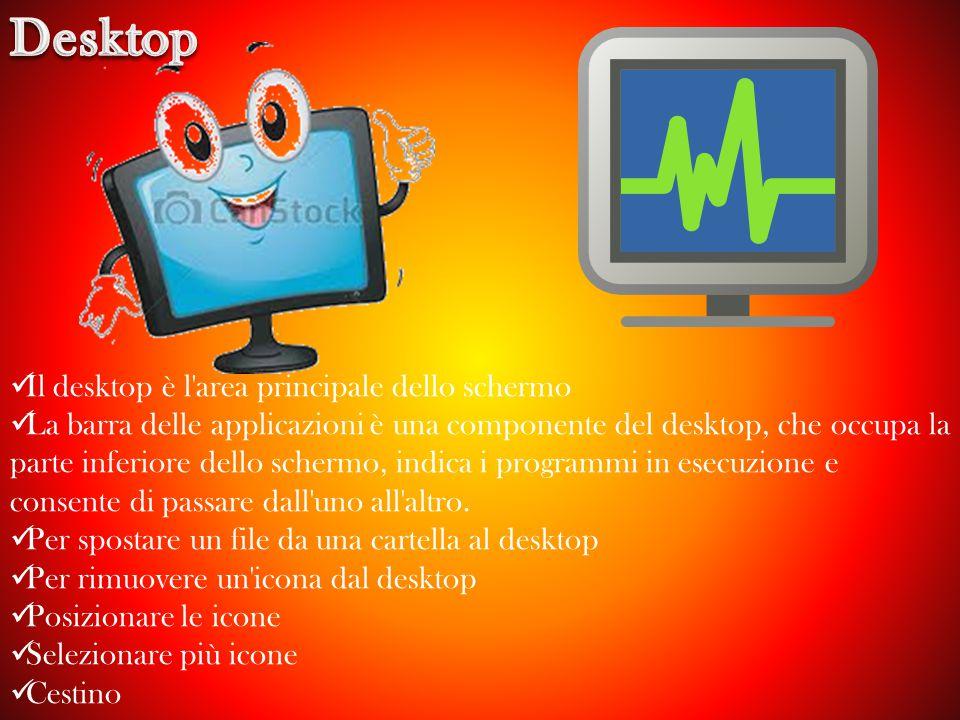 Il desktop è l area principale dello schermo La barra delle applicazioni è una componente del desktop, che occupa la parte inferiore dello schermo, indica i programmi in esecuzione e consente di passare dall uno all altro.