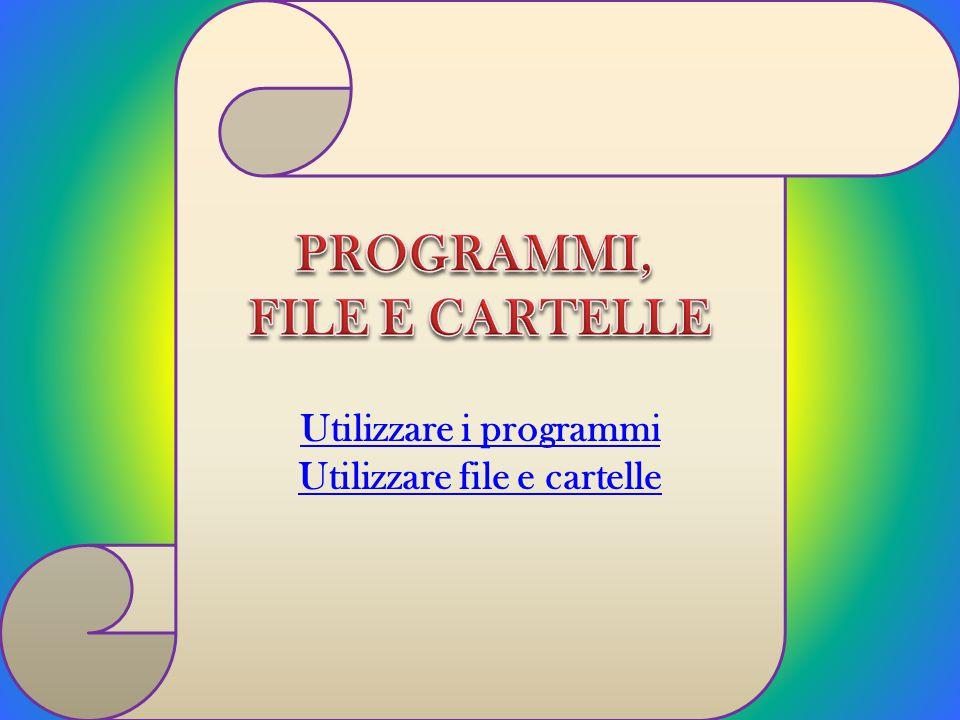 Utilizzare i programmi Utilizzare file e cartelle