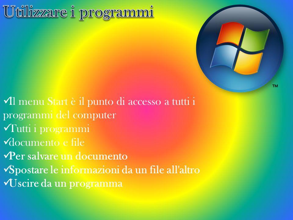 Il menu Start è il punto di accesso a tutti i programmi del computer Tutti i programmi documento e file Per salvare un documento Spostare le informazioni da un file all altro Uscire da un programma