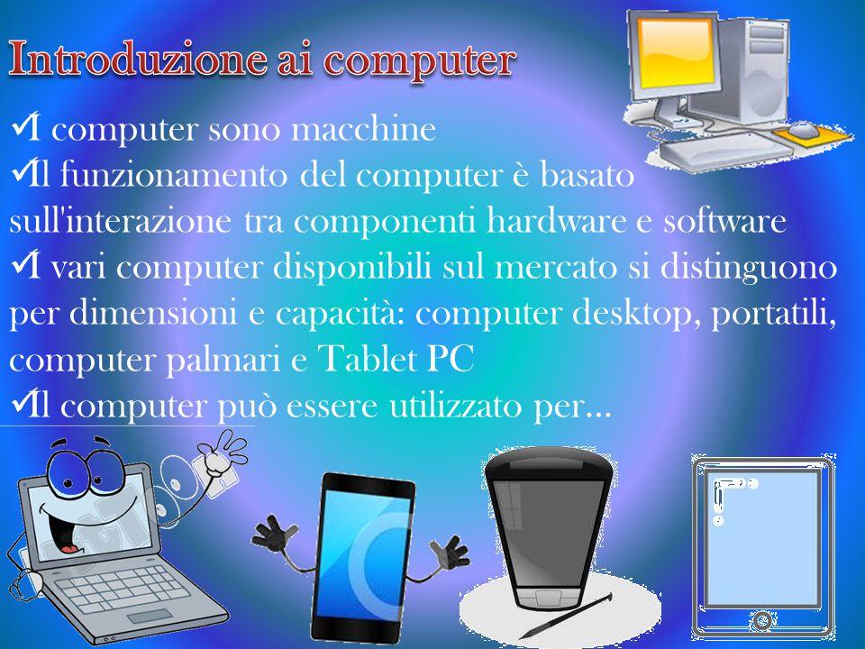 I computer sono macchine Il funzionamento del computer è basato sull interazione tra componenti hardware e software I vari computer disponibili sul mercato si distinguono per dimensioni e capacità: computer desktop, portatili, computer palmari e Tablet PC Il computer può essere utilizzato per…