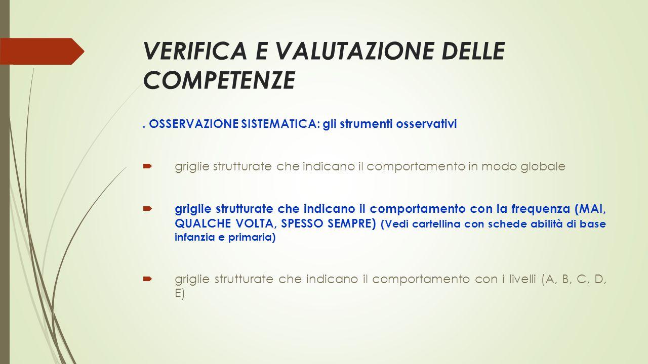 VERIFICA E VALUTAZIONE DELLE COMPETENZE.