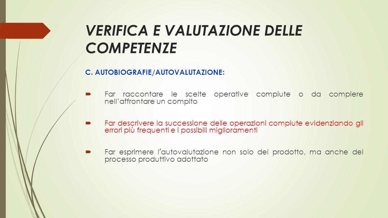 VERIFICA E VALUTAZIONE DELLE COMPETENZE C. AUTOBIOGRAFIE/AUTOVALUTAZIONE:  Far raccontare le scelte operative compiute o da compiere nell'affrontare