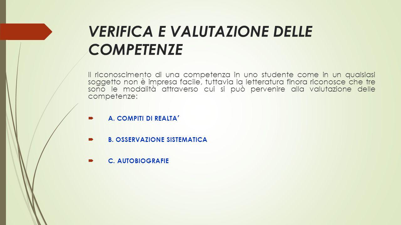 VERIFICA E VALUTAZIONE DELLE COMPETENZE Il riconoscimento di una competenza in uno studente come in un qualsiasi soggetto non è impresa facile, tuttav