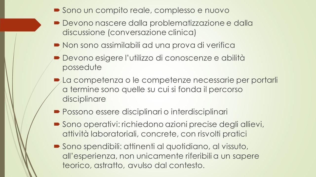  Sono un compito reale, complesso e nuovo  Devono nascere dalla problematizzazione e dalla discussione (conversazione clinica)  Non sono assimilabi