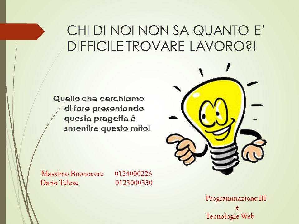 CHI DI NOI NON SA QUANTO E' DIFFICILE TROVARE LAVORO?.