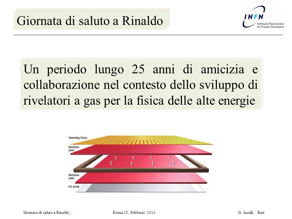 Giornata di saluto a Rinaldo Un periodo lungo 25 anni di amicizia e collaborazione nel contesto dello sviluppo di rivelatori a gas per la fisica delle alte energie Giornata di saluto a Rinaldo, Roma 20, Febbraio 2014 G.