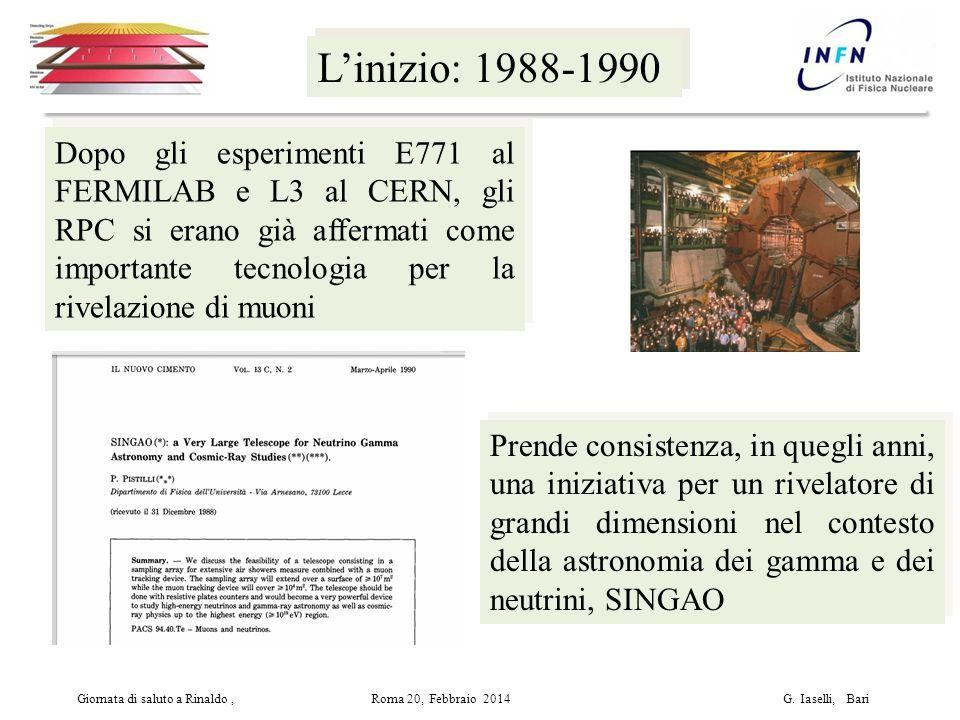 L'inizio: 1988-1990 Dopo gli esperimenti E771 al FERMILAB e L3 al CERN, gli RPC si erano già affermati come importante tecnologia per la rivelazione di muoni Giornata di saluto a Rinaldo, Roma 20, Febbraio 2014 G.