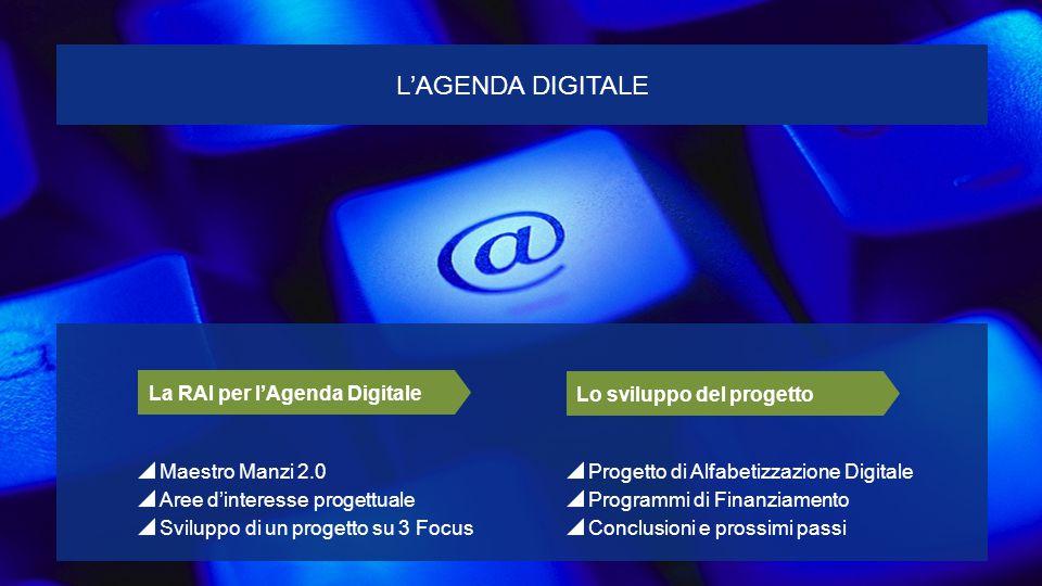 Progetto di Alfabetizzazione Digitale Programmi di Finanziamento Conclusioni e prossimi passi Lo sviluppo del progetto Maestro Manzi 2.0 Aree d'interesse progettuale Sviluppo di un progetto su 3 Focus La RAI per l'Agenda Digitale L'AGENDA DIGITALE