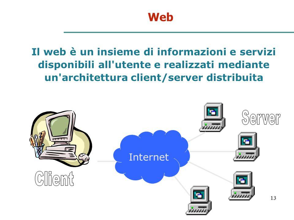 13 Web Il web è un insieme di informazioni e servizi disponibili all'utente e realizzati mediante un'architettura client/server distribuita Internet