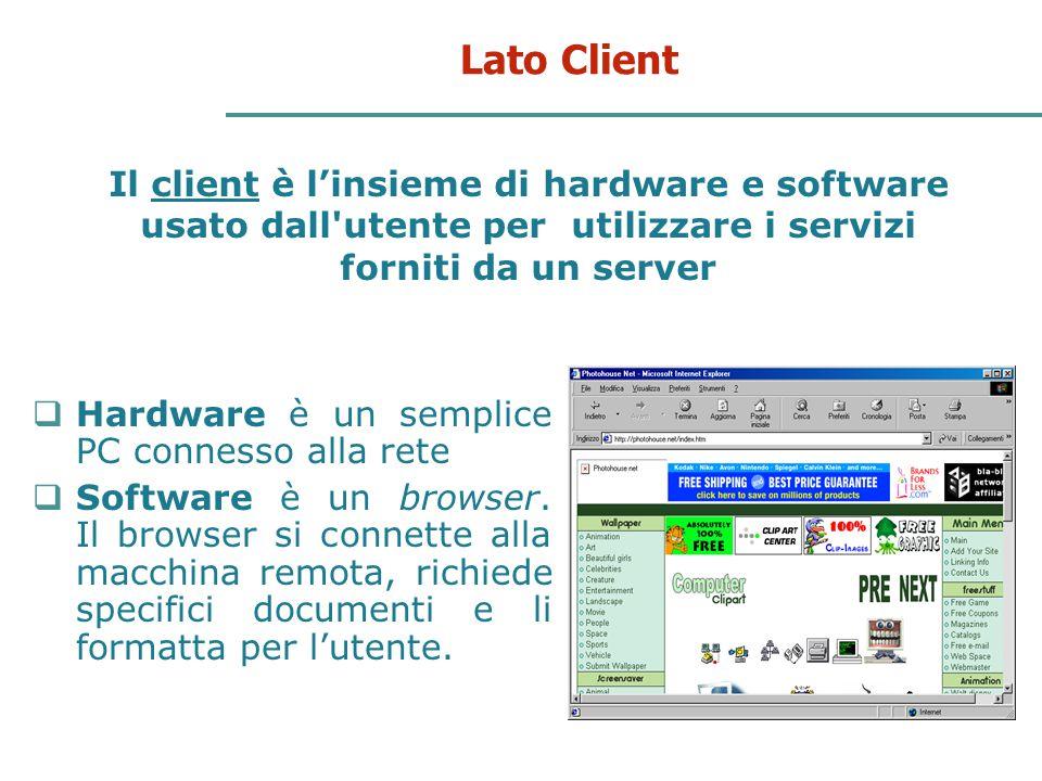 14 Lato Client Il client è l'insieme di hardware e software usato dall'utente per utilizzare i servizi forniti da un server  Hardware è un semplice P