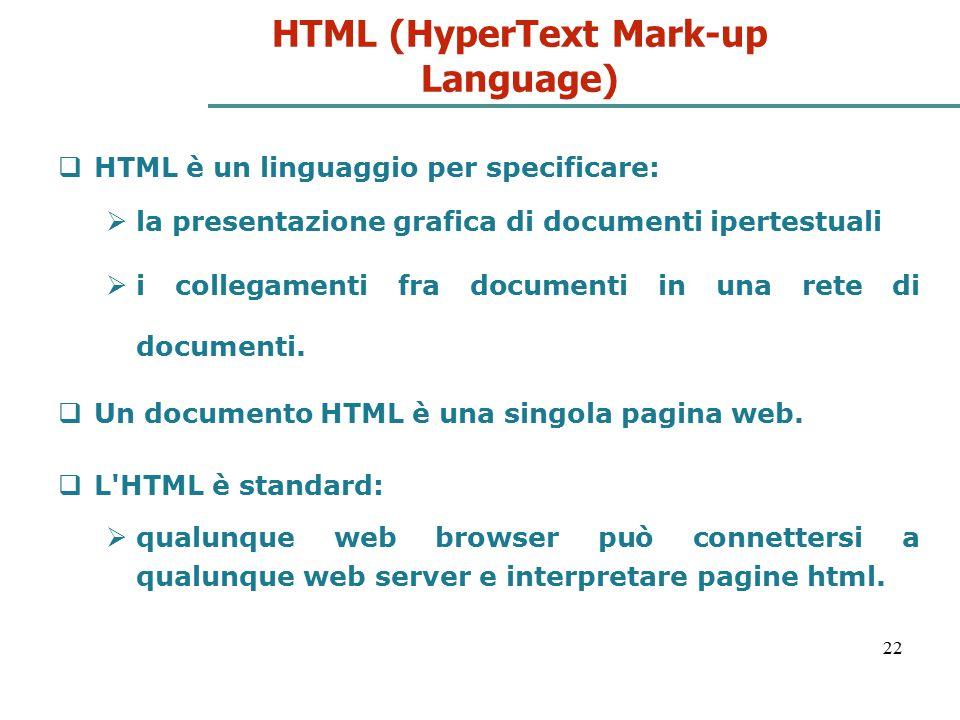 22 HTML (HyperText Mark-up Language)  HTML è un linguaggio per specificare:  la presentazione grafica di documenti ipertestuali  i collegamenti fra