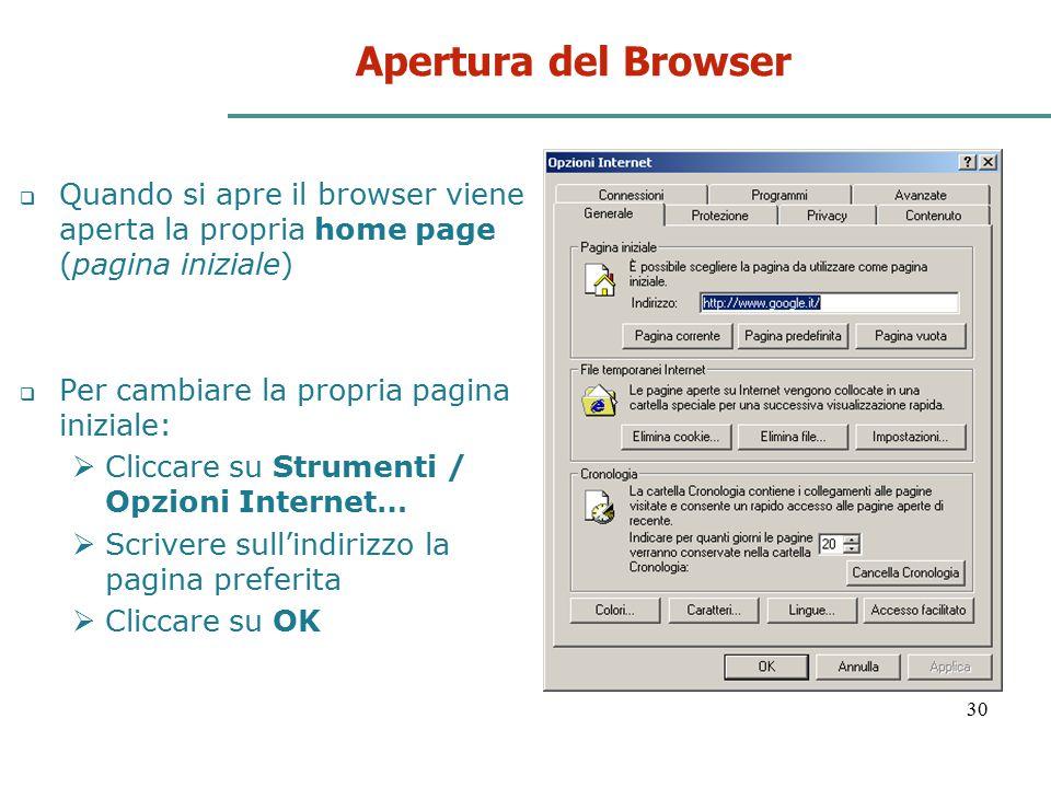 30 Apertura del Browser  Quando si apre il browser viene aperta la propria home page (pagina iniziale)  Per cambiare la propria pagina iniziale:  C