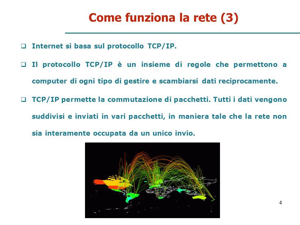 5 Come funziona la rete (4) In realtà il protocollo TCP/IP sono due protocolli distinti:  TCP : Trasmission Control Protocol si occupa del controllo della trasmissione, suddivide in pacchetti l'informazione e li riassembla una volta giunti a destinazione, riordinandoli e verificandone la correttezza.