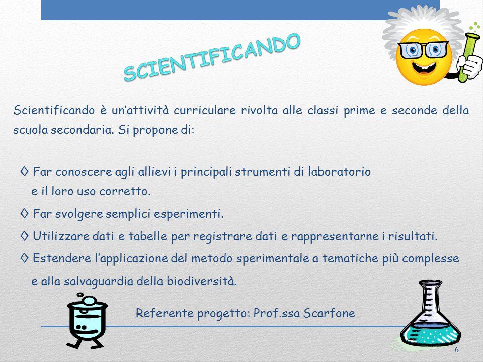 Scientificando è un'attività curriculare rivolta alle classi prime e seconde della scuola secondaria.