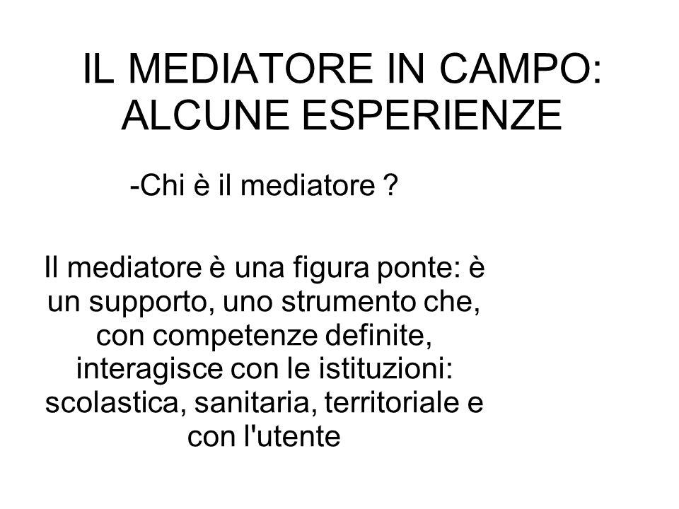 IL MEDIATORE IN CAMPO: ALCUNE ESPERIENZE -Chi è il mediatore ? Il mediatore è una figura ponte: è un supporto, uno strumento che, con competenze defin