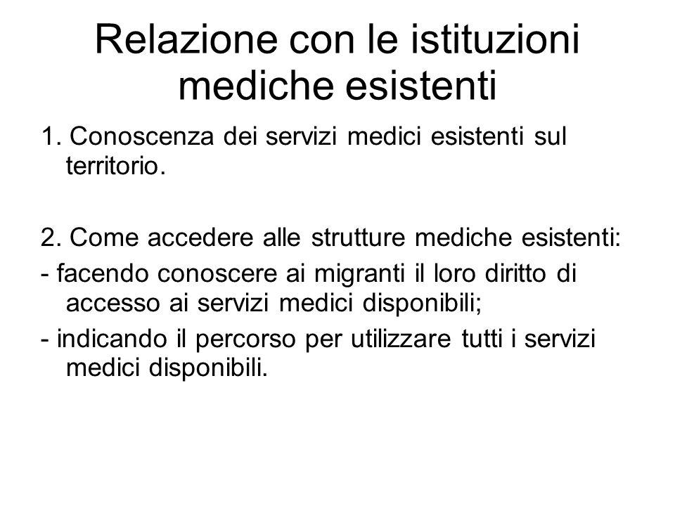 Relazione con le istituzioni mediche esistenti 1. Conoscenza dei servizi medici esistenti sul territorio. 2. Come accedere alle strutture mediche esis