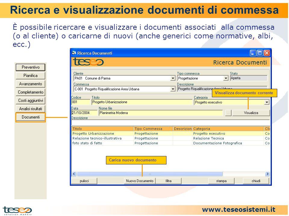 www.teseosistemi.it Ricerca e visualizzazione documenti di commessa È possibile ricercare e visualizzare i documenti associati alla commessa (o al cli