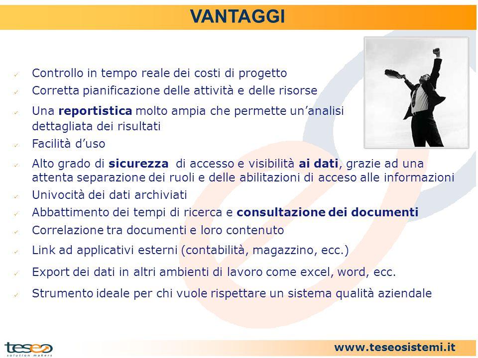www.teseosistemi.it VANTAGGI Controllo in tempo reale dei costi di progetto Corretta pianificazione delle attività e delle risorse Una reportistica mo