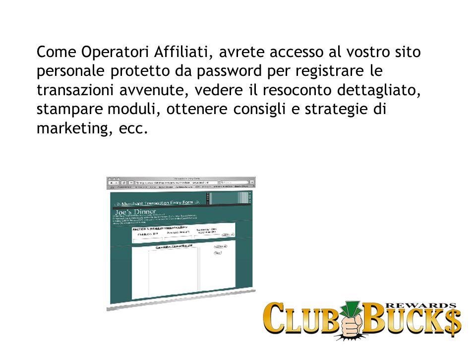 Come Operatori Affiliati, avrete accesso al vostro sito personale protetto da password per registrare le transazioni avvenute, vedere il resoconto dettagliato, stampare moduli, ottenere consigli e strategie di marketing, ecc.