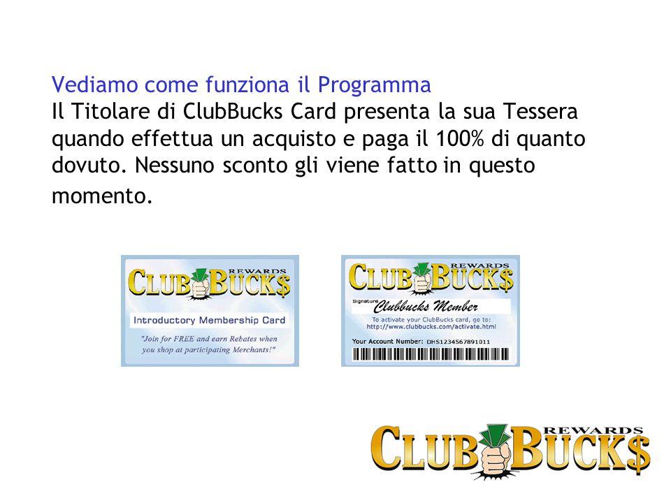 Vediamo come funziona il Programma Il Titolare di ClubBucks Card presenta la sua Tessera quando effettua un acquisto e paga il 100% di quanto dovuto.
