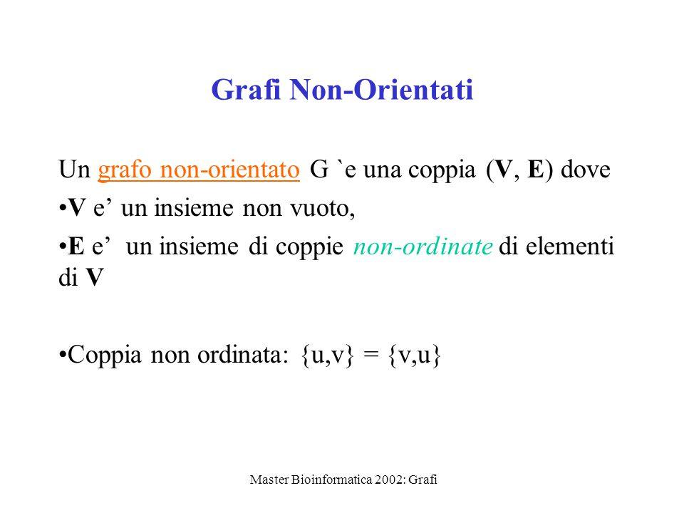 Master Bioinformatica 2002: Grafi Grafi Non-Orientati Un grafo non-orientato G `e una coppia (V, E) dove V e' un insieme non vuoto, E e' un insieme di