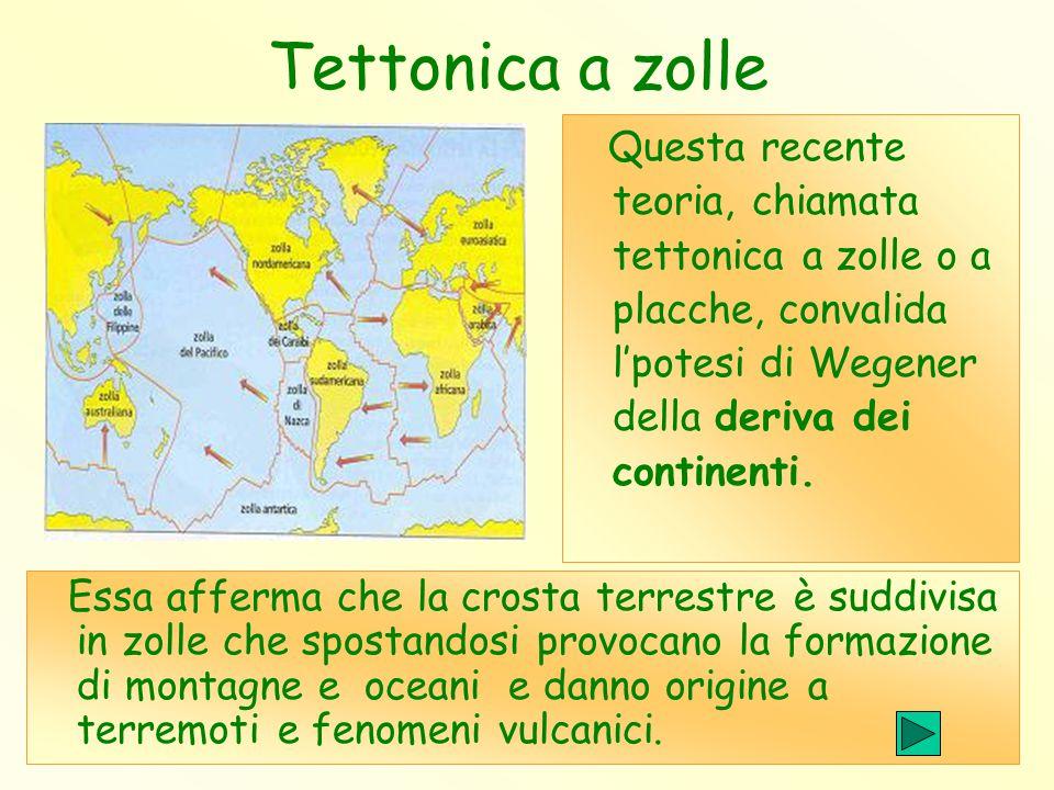 Tettonica a zolle Questa recente teoria, chiamata tettonica a zolle o a placche, convalida l'potesi di Wegener della deriva dei continenti. Essa affer