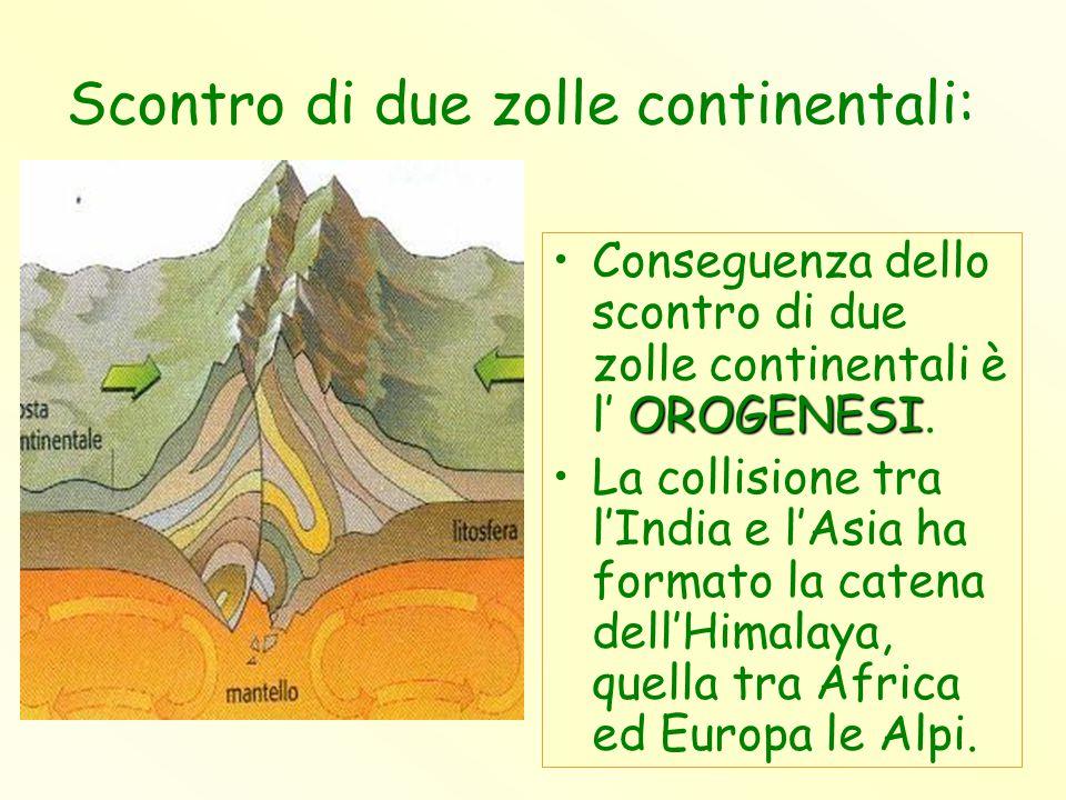 Scontro di due zolle continentali: OROGENESIConseguenza dello scontro di due zolle continentali è l' OROGENESI. La collisione tra l'India e l'Asia ha
