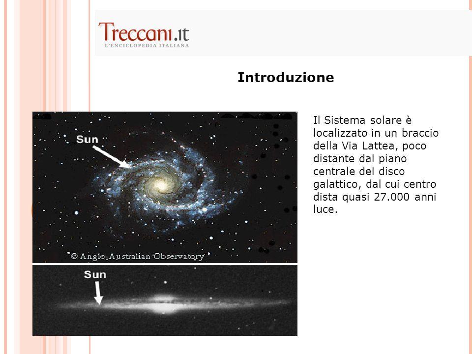 Il Sistema solare è localizzato in un braccio della Via Lattea, poco distante dal piano centrale del disco galattico, dal cui centro dista quasi 27.00