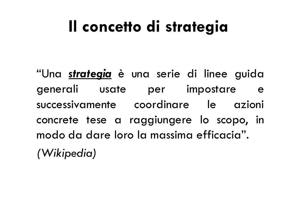 Una strategia è una serie di linee guida generali usate per impostare e successivamente coordinare le azioni concrete tese a raggiungere lo scopo, in modo da dare loro la massima efficacia .