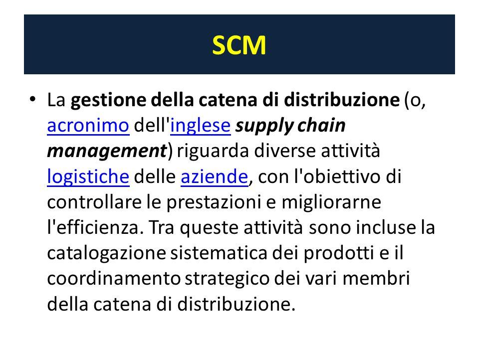 SCM La gestione della catena di distribuzione (o, acronimo dell inglese supply chain management) riguarda diverse attività logistiche delle aziende, con l obiettivo di controllare le prestazioni e migliorarne l efficienza.