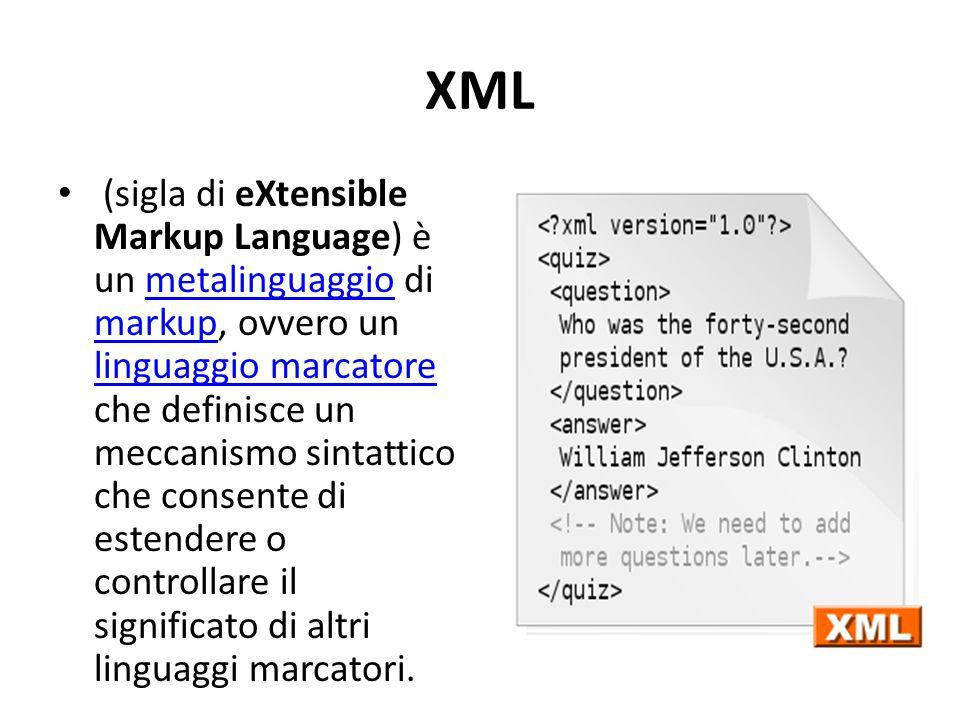 XML (sigla di eXtensible Markup Language) è un metalinguaggio di markup, ovvero un linguaggio marcatore che definisce un meccanismo sintattico che consente di estendere o controllare il significato di altri linguaggi marcatori.metalinguaggio markup linguaggio marcatore