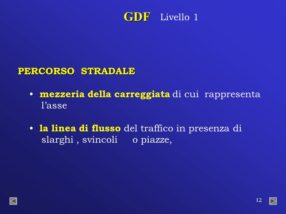 12 PERCORSO STRADALE mezzeria della carreggiata di cui rappresenta l'asse la linea di flusso del traffico in presenza di slarghi, svincoli o piazze, GDF Livello 1