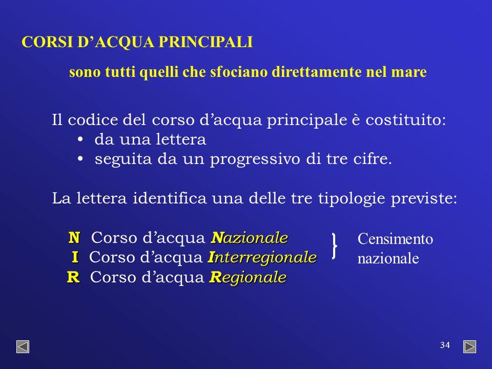 34 Il codice del corso d'acqua principale è costituito: da una lettera seguita da un progressivo di tre cifre.