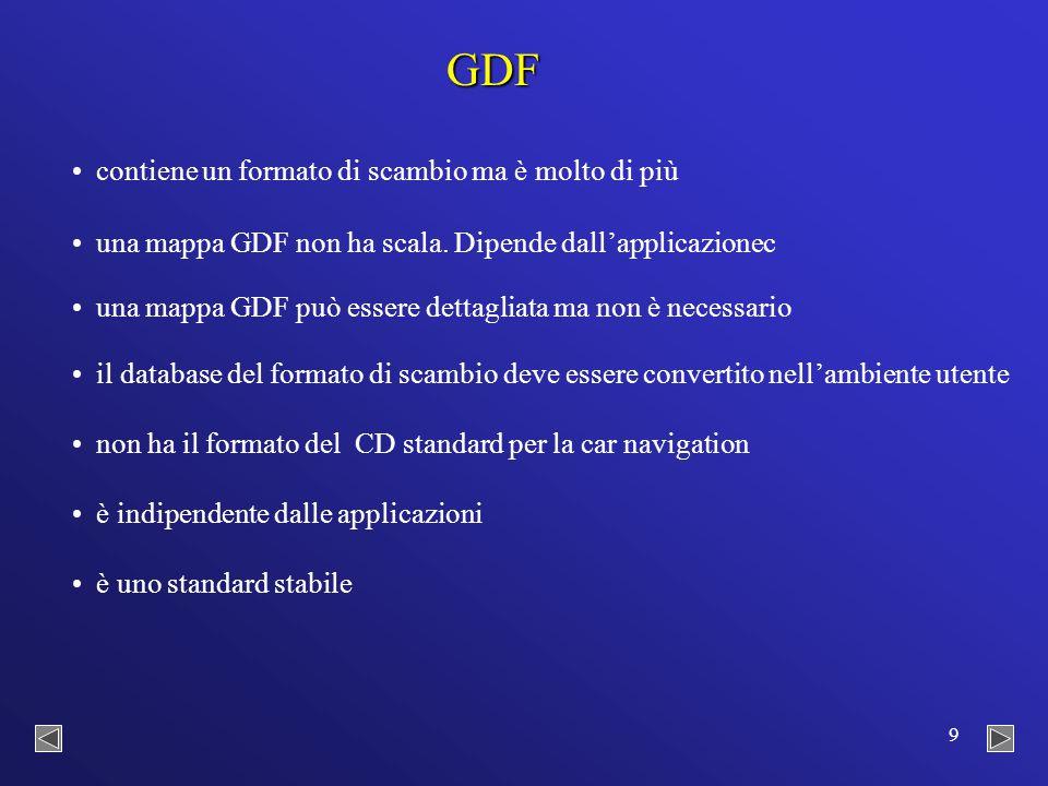 9 GDF contiene un formato di scambio ma è molto di più una mappa GDF non ha scala.
