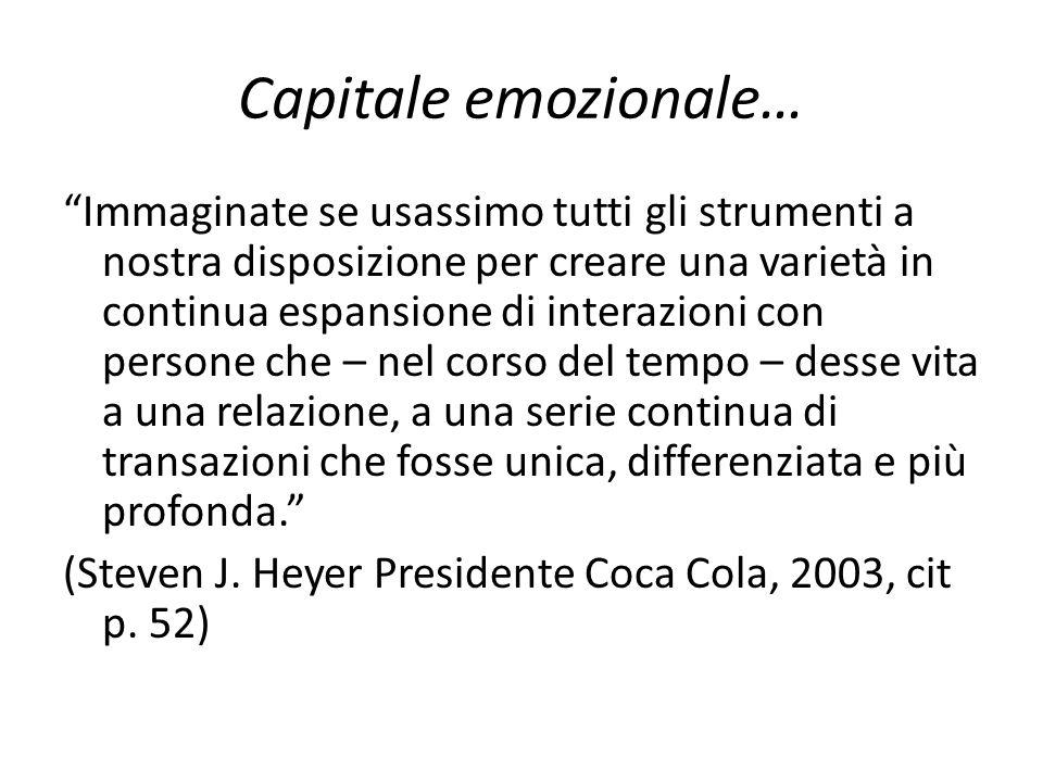 """Capitale emozionale… """"Immaginate se usassimo tutti gli strumenti a nostra disposizione per creare una varietà in continua espansione di interazioni co"""