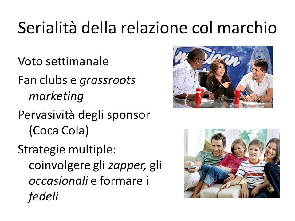 Serialità della relazione col marchio Voto settimanale Fan clubs e grassroots marketing Pervasività degli sponsor (Coca Cola) Strategie multiple: coin