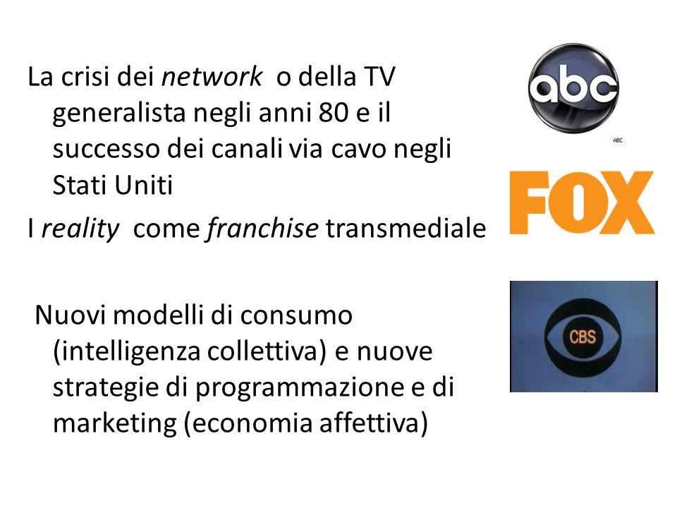 La crisi dei network o della TV generalista negli anni 80 e il successo dei canali via cavo negli Stati Uniti I reality come franchise transmediale Nu