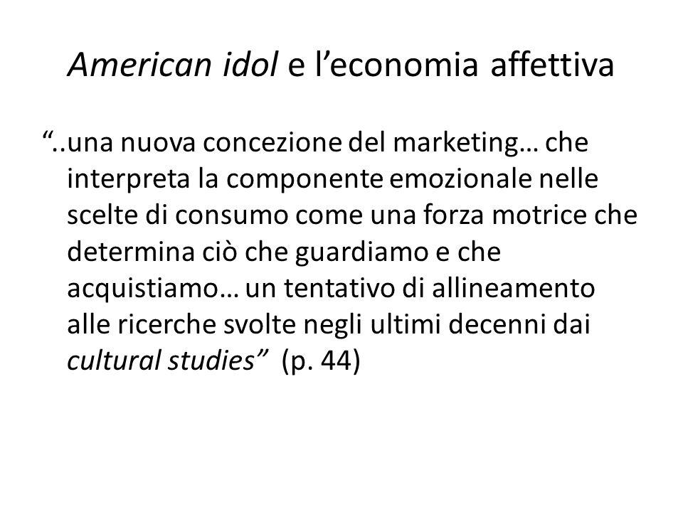 """American idol e l'economia affettiva """"..una nuova concezione del marketing… che interpreta la componente emozionale nelle scelte di consumo come una f"""