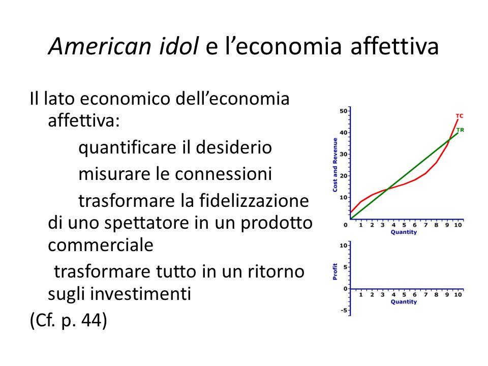 American idol e l'economia affettiva Il lato economico dell'economia affettiva: quantificare il desiderio misurare le connessioni trasformare la fidel