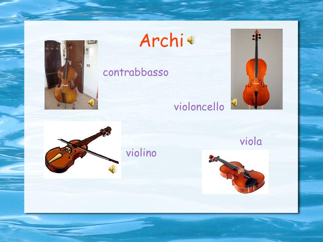 Strumenti a corda In questi strumenti il suono viene prodotto dalla vibrazione di corde tese tra due punti fissi. Le corde possono essere pizzicate, p