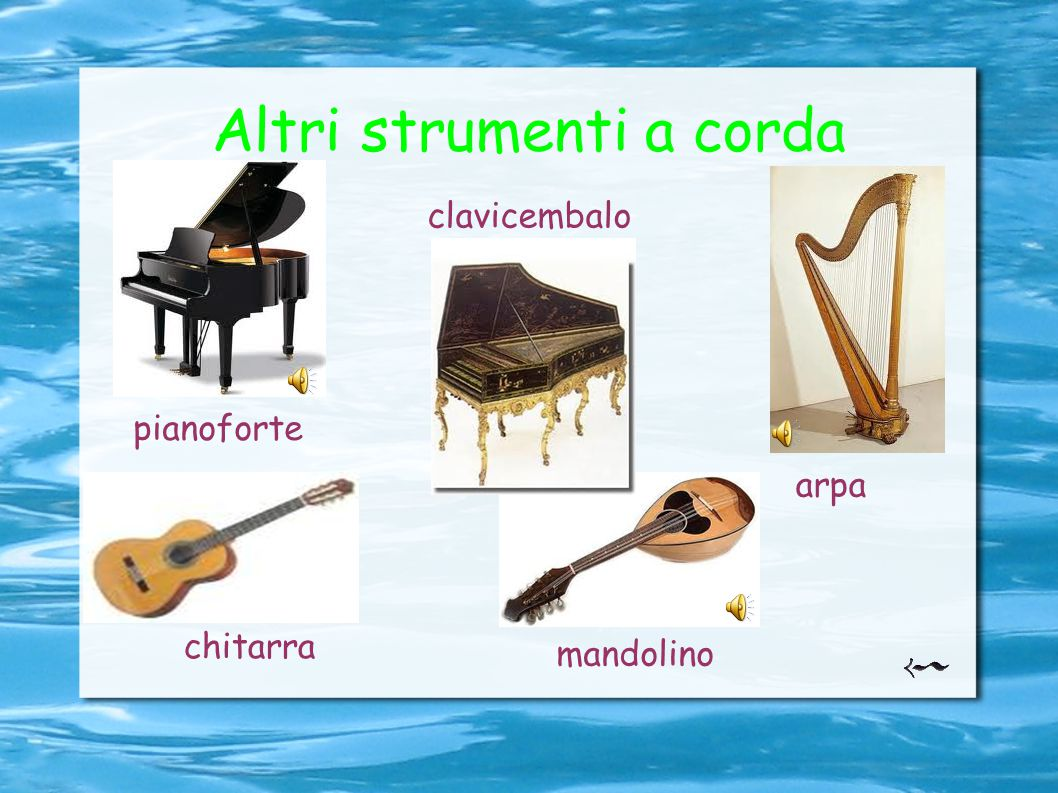 Altri strumenti a corda pianoforte clavicembalo arpa mandolino chitarra